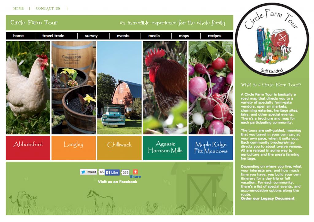circle farm tour website design old site